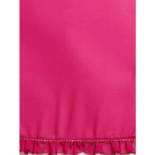 Inddus Magenta & Yellow Poly Georgette Dyed Saree
