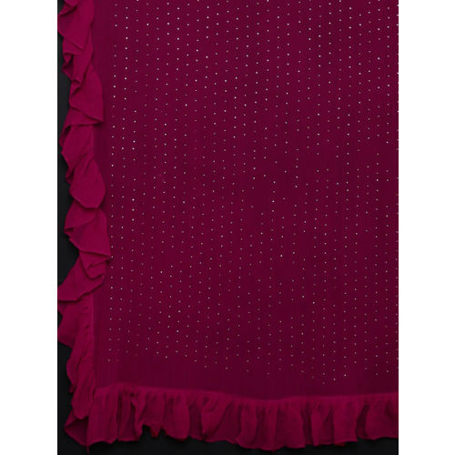 Triveni Burgundy Embellished Poly Chiffon Saree With Ruffled Border