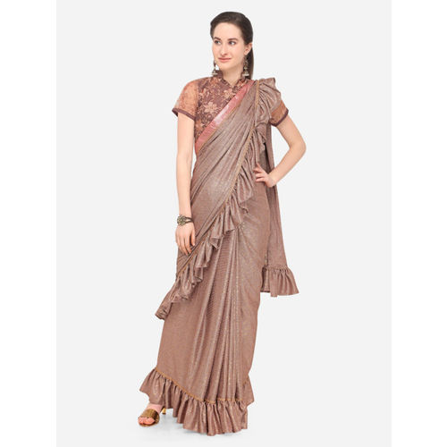 Indian Women skin -Coloured Solid Poly Silk Saree