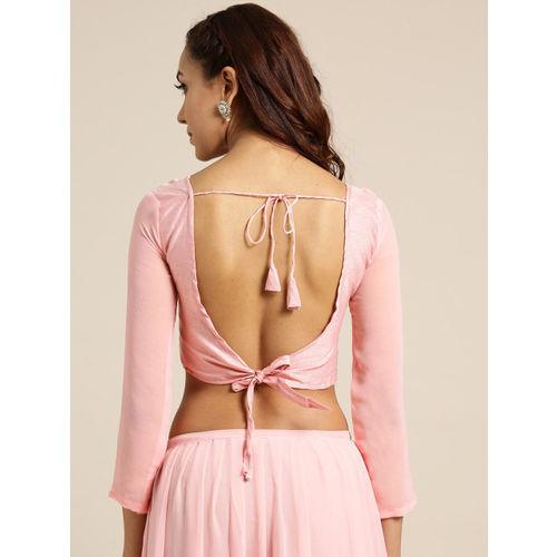 MANOHARI Pink Solid Pure Georgette Ruffled Saree