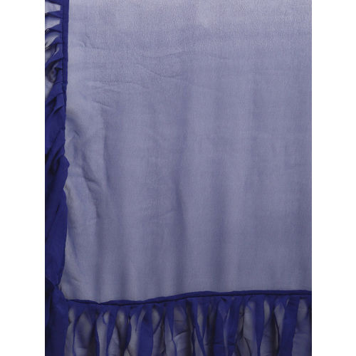 MANOHARI Navy Blue Solid Pure Georgette Ruffled Saree