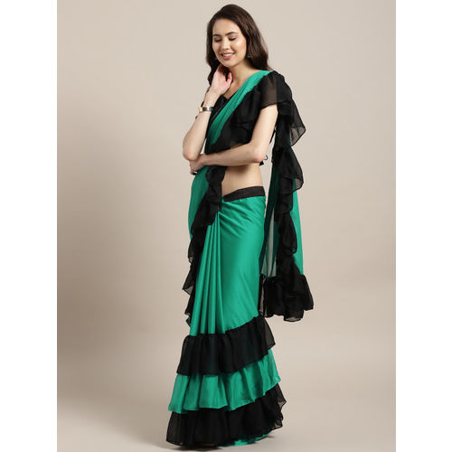 MANOHARI Green & Black Solid Saree