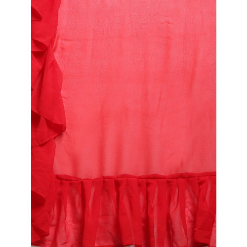 MANOHARI Red Solid Pure Georgette Ruffled Saree