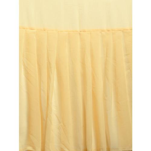 MANOHARI Yellow Solid Georgette Ruffled Saree