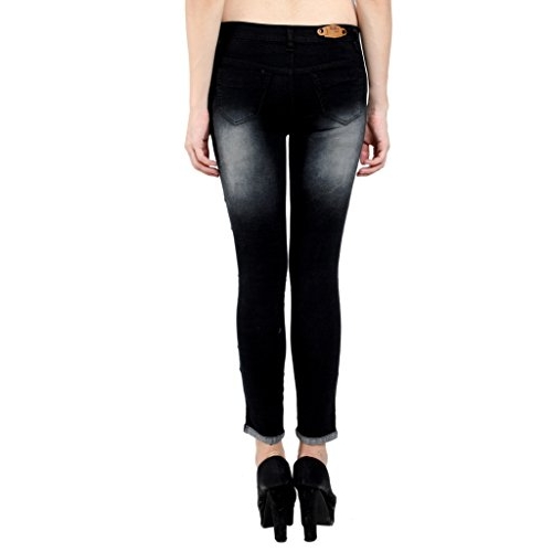 NIFTY Women's Black Ripped  Slim Fit Jeans