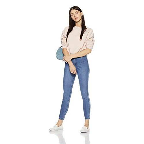 AKA CHIC Women's Blue High Rise Slim Fit Jeans