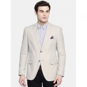 SUITLTD Men Grey polyester Solid Slim Fit Single Breasted Casual Blazer