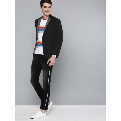 Mast & Harbour Black polyester Solid Single-Breasted Casual Blazer