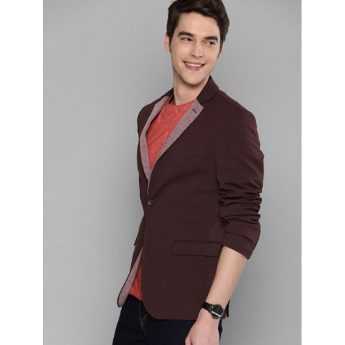 Mast & Harbour Burgundy polyester Solid Regular Fit Single-Breasted Casual Blazer