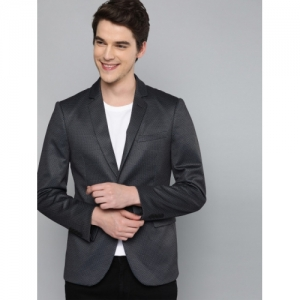 Mast & Harbour Navy Blue polyester Printed Regular Fit Single-Breasted Casual Blazer