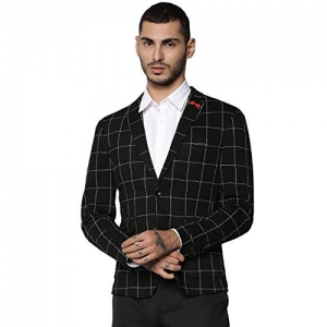 Jack & Jones black synthetic Notch Lapel Regular Fit Blazer
