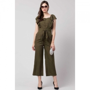 Slenor Brown Poly Crepe Jumpsuit