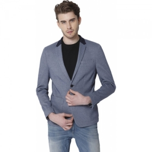 Jack & Jones blue cotton blend Solid Single Breasted Casual Blazer