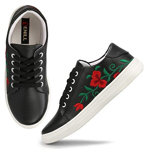 Denill Black Comfortable & Stylish Embroided Sneakers