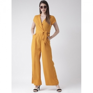 The Vanca  Mustard Polyster Solid Jumpsuit