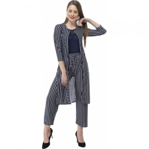 AAKRITHI Navy Blue Viscose Striped Jumpsuit