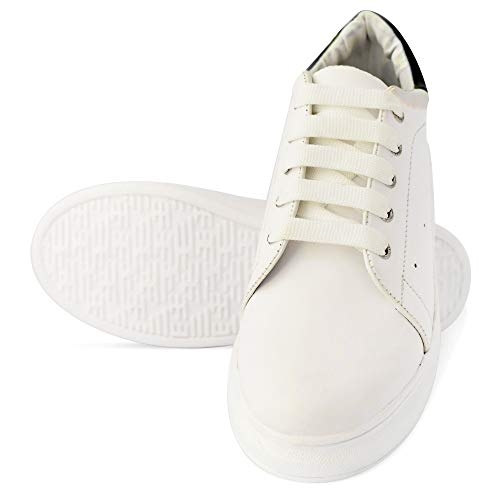 PrasKing White Casual Lace up Sneakers Shoes