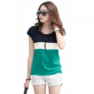 METRO-FASHION Color Block  Hosiery Round Neck T-Shirt