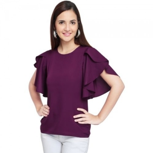 OOMPH! Purple Crepe Regular Fit Solid Top