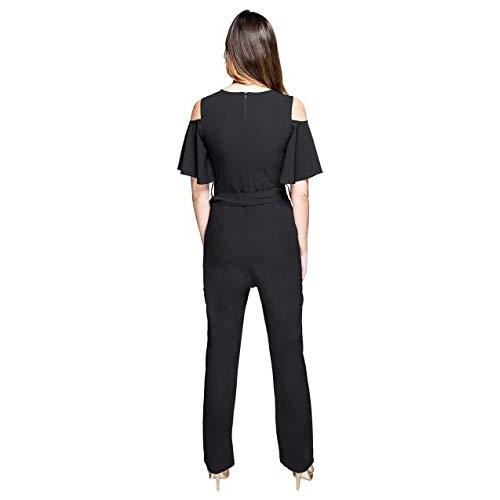 ITRRA black crepe Solid Ruffled Cold Shoulder Belted Ankle Length Jumpsuit