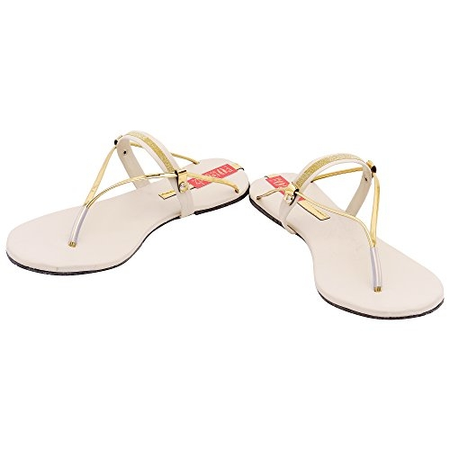 Footrendz Women 's Beige Attractive Synthetic Leather Flats