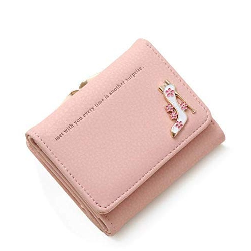 PALAY Pink PU Leather Mini Short Card Holder Small Wallet