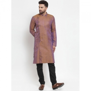 Jompers  Gold-Toned & Purple Woven Design Kurta with Churidar