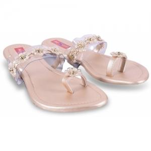 AirSoon Women Gold Pink Flats
