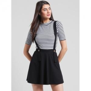 RIGO Black Cotton Flared Mini Skirt