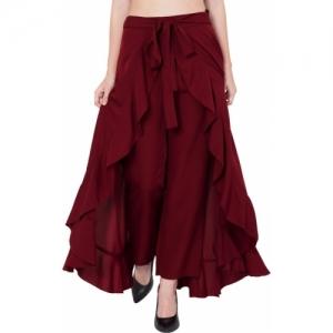 Slenor Maroon Ruffle Pants Split High Waist Maxi Long Crepe Palazzo Overlay Pant Skirt