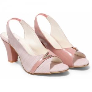 Butterflies Steps Women Pink Block Heels Sandals