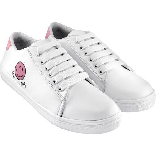 RINDAS Women's/Girls Trendy Fashionable Lightweight Comfortable shoe Sneakers For Women(White, Pink)