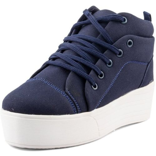 Fairdeal Girls Canvas Mid Ankle High Heel Sneakers For Women(Blue)
