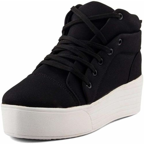 Fairdeal Girls Canvas Mid Ankle High Heel Sneakers For Women(Black)