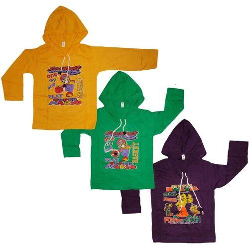 Kifayati Bazar Boys & Girls Graphic Print Cotton Blend T Shirt(Multicolor, Pack of 3)