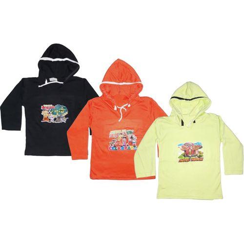 Manzon Boys & Girls Graphic Print Cotton Viscose Blend T Shirt(Multicolor, Pack of 3)