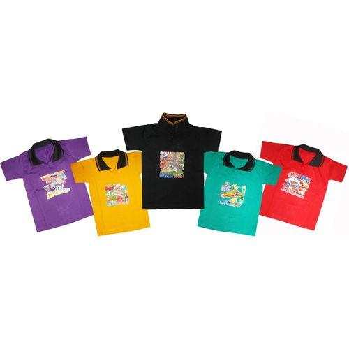 Kifayati Bazar Boys & Girls Graphic Print Cotton Blend T Shirt(Multicolor, Pack of 5)