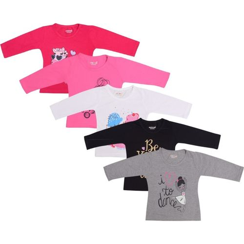 Kuchipoo Girl's Printed Pure Cotton T Shirt(Multicolor, Pack of 5)