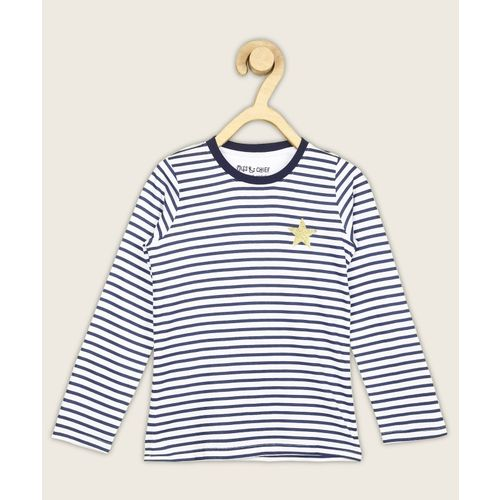 Miss & Chief Girls Striped Pure Cotton T Shirt(Blue, Pack of 1)