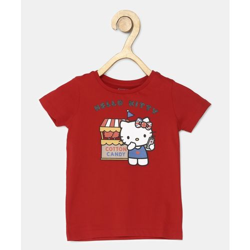 Miss & Chief Girls Printed Pure Cotton T Shirt(Red, Pack of 1)
