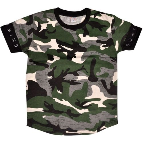 Esteem Boy's & Girl's Military Camouflage Cotton Jersey T Shirt(Green, Pack of 1)