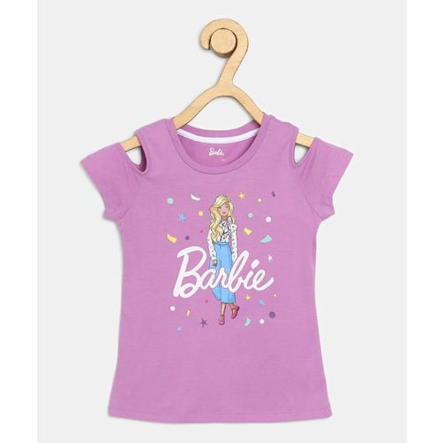 Barbie Girl's Graphic Print Cotton Blend T Shirt(Purple, Pack of 1)