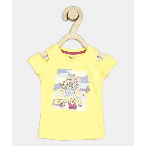 Barbie Girl's Printed Cotton Blend T Shirt(Yellow, Pack of 1)