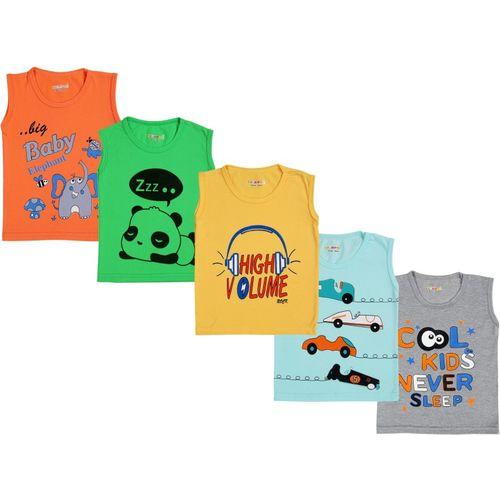 Kuchipoo Boys & Girls Printed Cotton Blend T Shirt(Multicolor, Pack of 5)