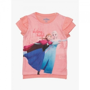Frozen By Kidsville Girls Printed Pure Cotton T Shirt(Pink, Pack of 1)