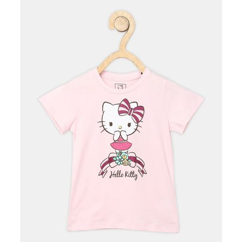 Miss & Chief Girls Printed Pure Cotton T Shirt(Pink, Pack of 1)