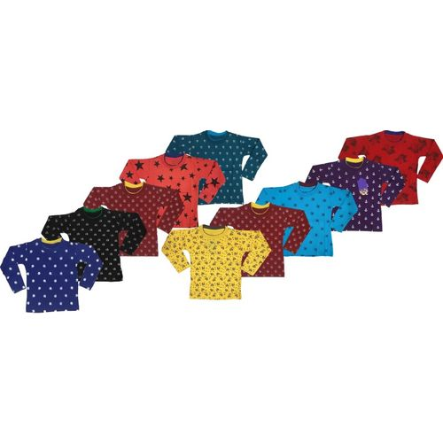 Manzon Boys & Girls Printed Cotton Blend T Shirt(Multicolor, Pack of 10)
