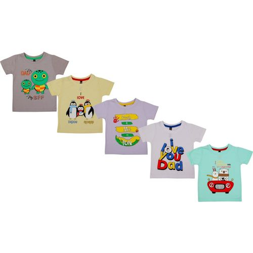 Kuchipoo Boys & Girls Printed Cotton Blend T Shirt(Multicolor, Pack of 5)