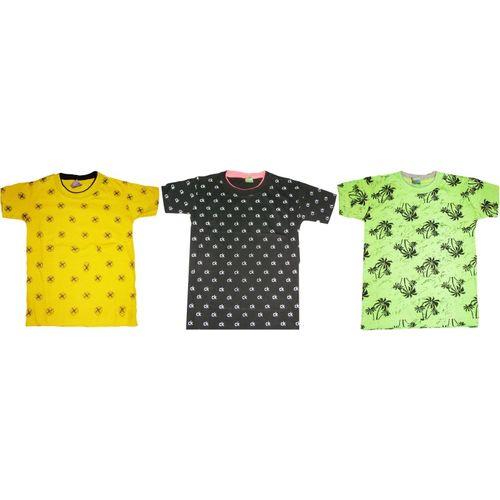 Kifayati Bazar Boys & Girls Printed Cotton Blend T Shirt(Multicolor, Pack of 3)