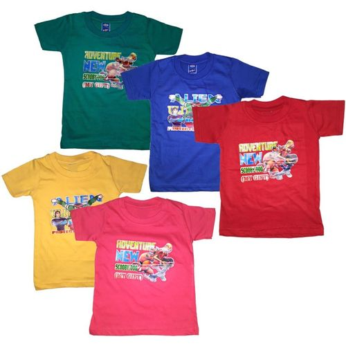 Manzon Boys & Girls Graphic Print Cotton Blend T Shirt(Multicolor, Pack of 5)